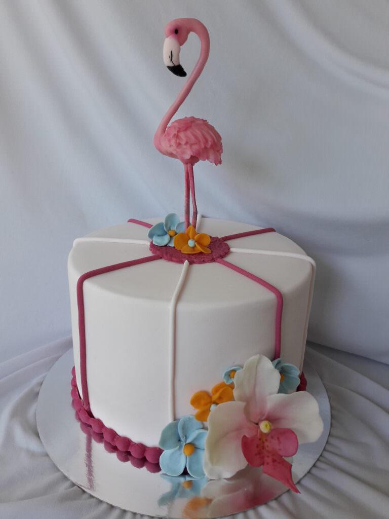 Праздничный торт с фламинго