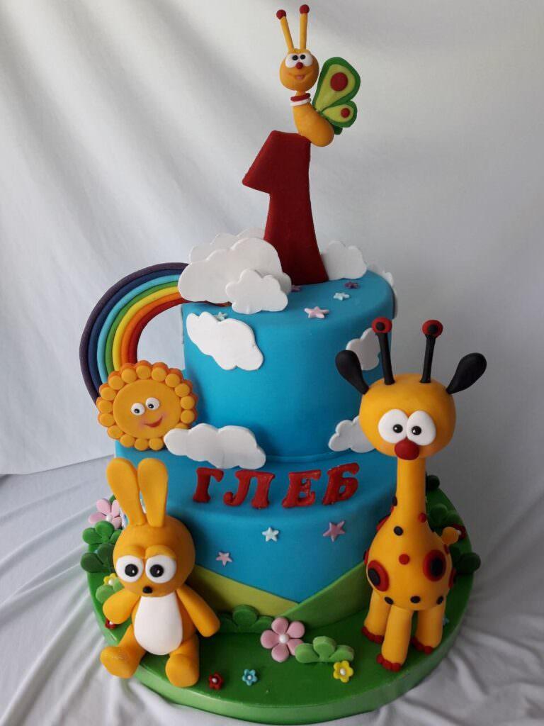 Детский торт со зверюшками